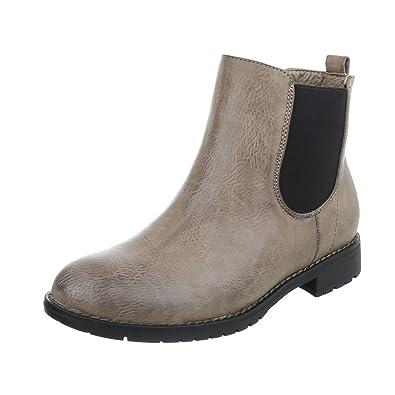 7bf0b1cd97810f Chelsea Boots Damen-Schuhe Chelsea Boots Blockabsatz Blockabsatz  Ital-Design Stiefeletten Grau
