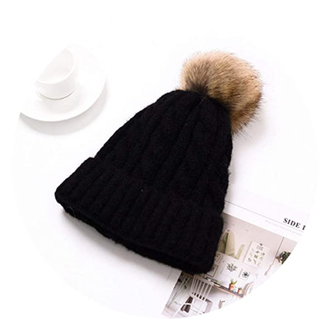 a26682050 Youth-Song Knitted Hat Caps ren Girl Boy Wool Bobble Pompom Beanies ...