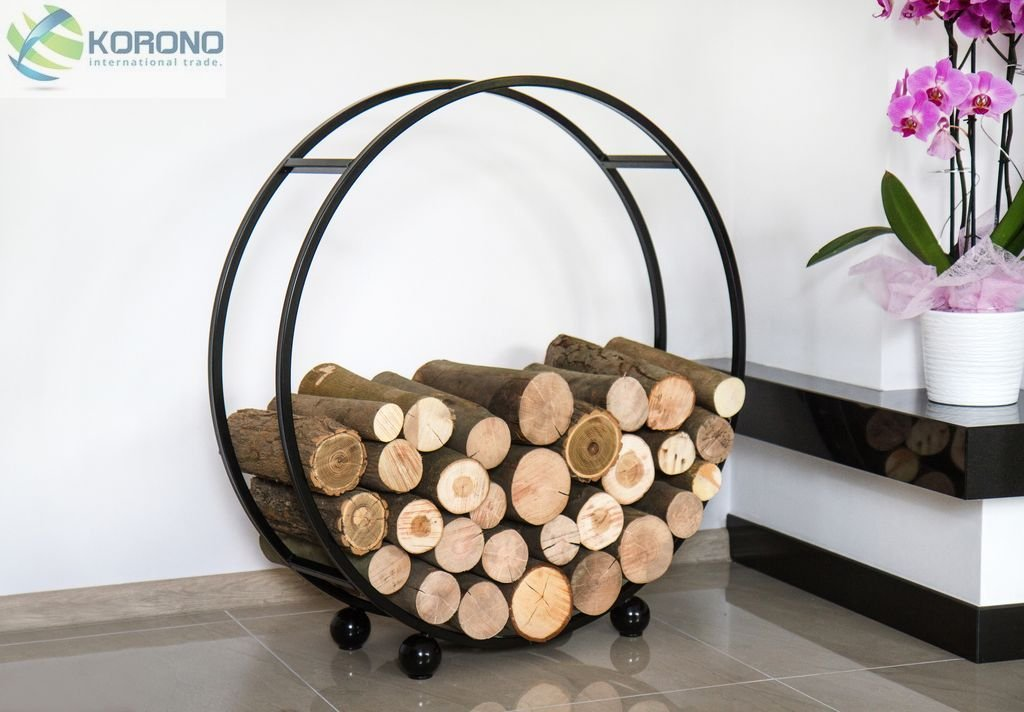 DanDiBo Ambiente –  Soporte de madera redondo Diá metro 80 cm Negro Madera Cesta Chimenea Madera Soporte Madera Estanterí a tamañ o 120 x 40 x 20 cm KORONO