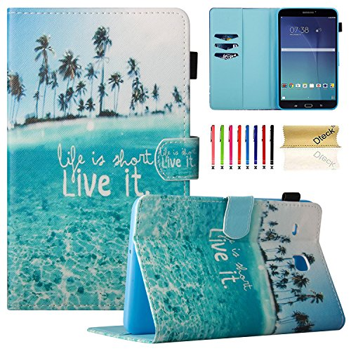 Tab E 8.0 Case, Samsung SM-T377a Case, Dteck PU Leather Flip Stand Case [Card Holder] Wallet Case Cover for Samsung Galaxy Tab E T377/T375 8.0 Inch Lite Series Tablet-Charming Beach