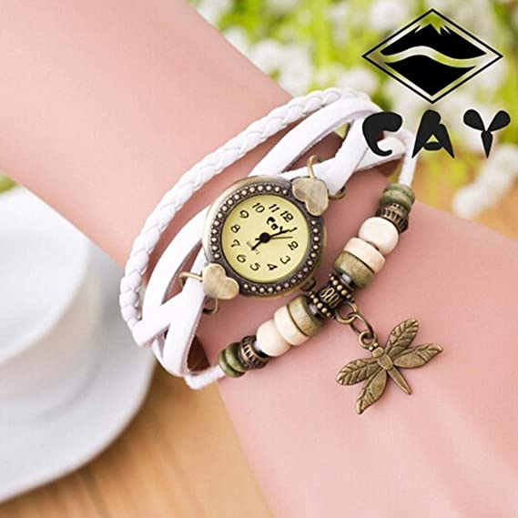 Amazon.com: Bracelet Watches for Girls, Iuhan Antique Dragonfly Woman Bracelet Hand Ring Wrist Watch Leather Layered Bracelet Watches Birthday Gift (Light ...
