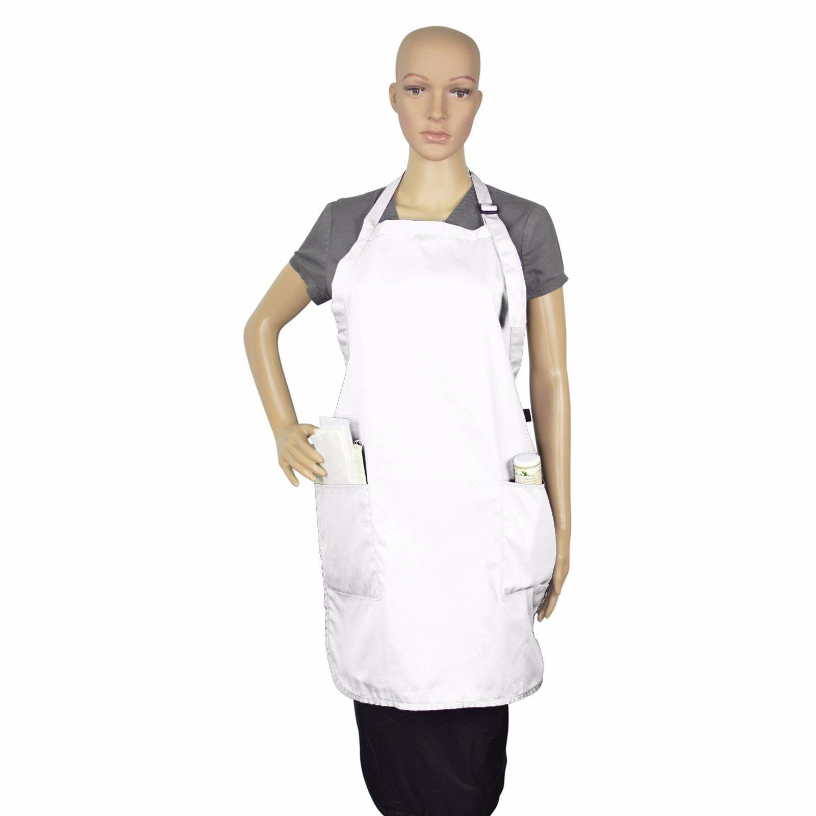 Apron Bib Commercial Restaurant Home Bib Spun Poly Cotton Kitchen Aprons (2 Pockets) (36, White)