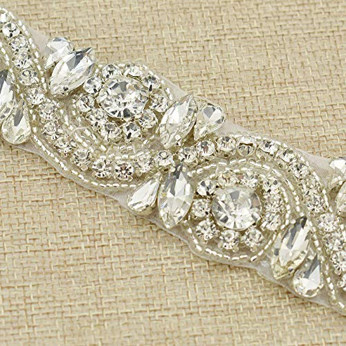 1yard Beaded Bling Crystal Trim Sew On Rhinestone Applique Bridal Belt Trimming (Color - Silver)
