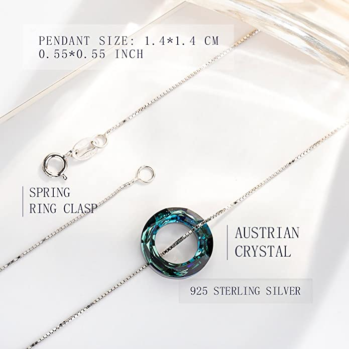 INACY 925 Sterling Silver Fashion Ladies Jewellery made with Austrian Crystal from SWAROVSKI, Circle Pendant Necklaces for Women