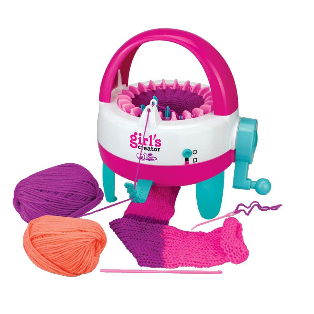 MonkeyJack Creative Knitting Machine Scarf Hat Socks Weaving Loom Knitter Hand Crank Toy Xmas Gift Playset -Round Bucket