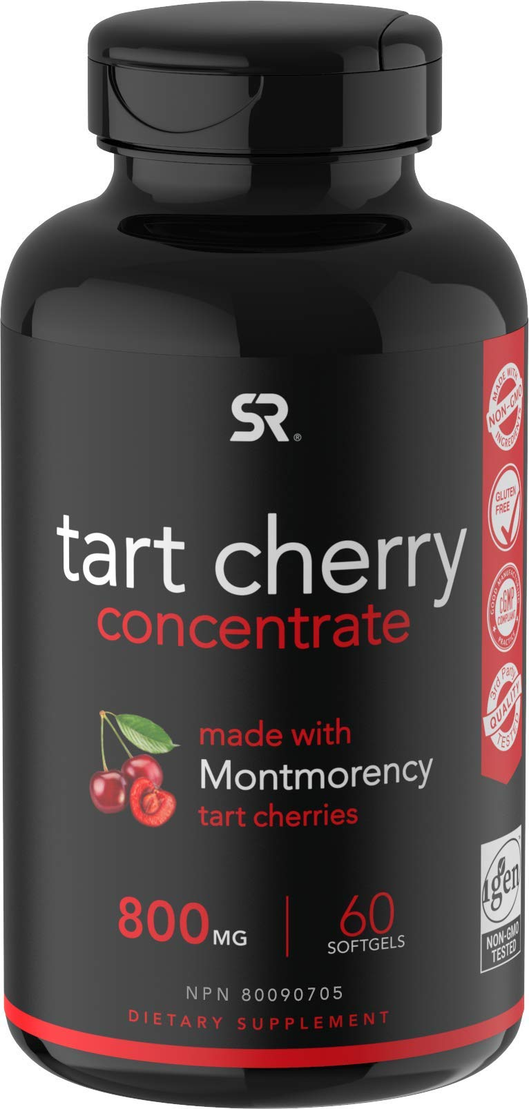 Tart Cherry Concentrate - Made from Montmorency Tart Cherries; Non-GMO & Gluten Free (60 Liquid Softgels)