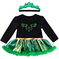 ZL4CH Infant Baby Girls Dress Clothes Tutu Skirt+ Headband Outfit Long Sleeve Green 0-3 Months
