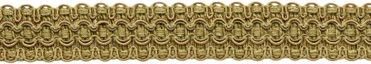 D/ÉCOPRO Lavish 1 inch Wide Artichoke Green Olive Grove VNT15|Sold by The Yard Medium Gold Gimp Braid Trim|Style# 0100VG|Color