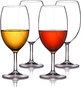 MICHLEY Unbreakable Wine Glasses, 100% Tritan Plastic Shatterproof Wine Glasses, BPA-free, Dishwasher-safe 20 oz, Set of 4