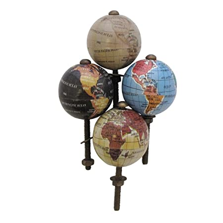 Set Of 4 Globe Door Knobs Vintage Handle Eclectic Atlas Cabinet Upcycle