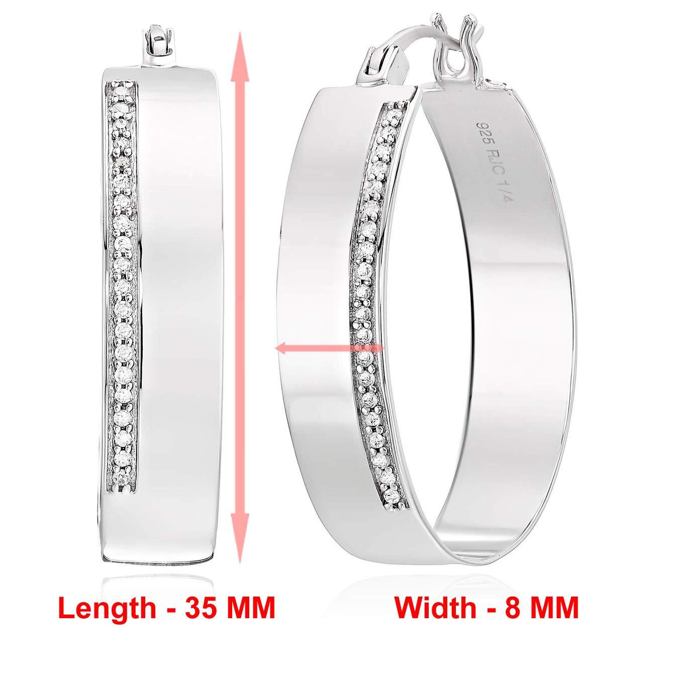 Vir Jewels 1 4 cttw Diamond Hoop Earrings .925 Sterling Silver 1.50 Inch