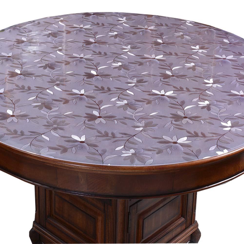 Pvcのテーブルクロスラウンド防水撥油防油ホテルプラスチック軟質ガラステーブルマット,2.0MM,150CM 150CM 2.0MM B07S18438X
