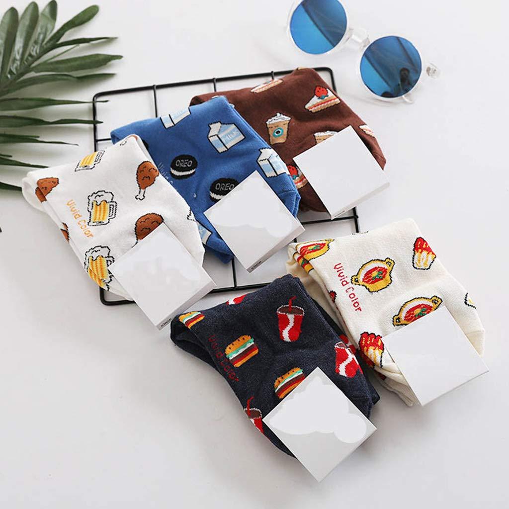 ecmqs calcetines mujer//hombre/ /unisex el oto/ño algod/ón mi-mollet Socquettes larga dibujo animado marrant Snacks//comida//Cerveza//Hamburger//baqueta Imprim/é Harajuku ropa de calle azul