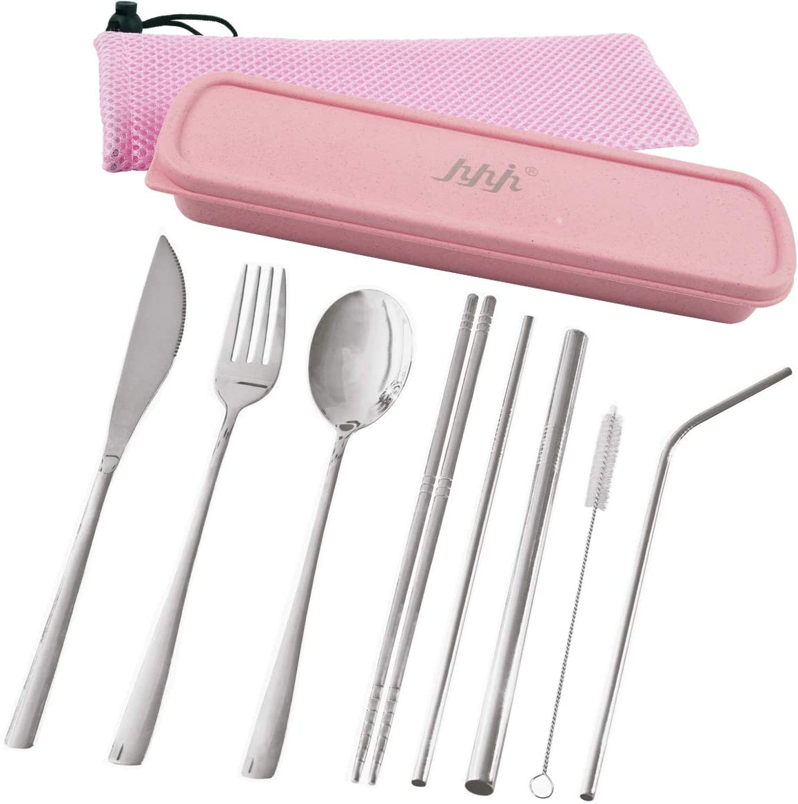 Travel Utensils, hyhjh Reusable Portable Cutlery Camping Utensil Set with Case Including Stainless Steel Knife Fork Spoon Chopsticks Cleaning Brush Straws Pack of 10 (Pink)
