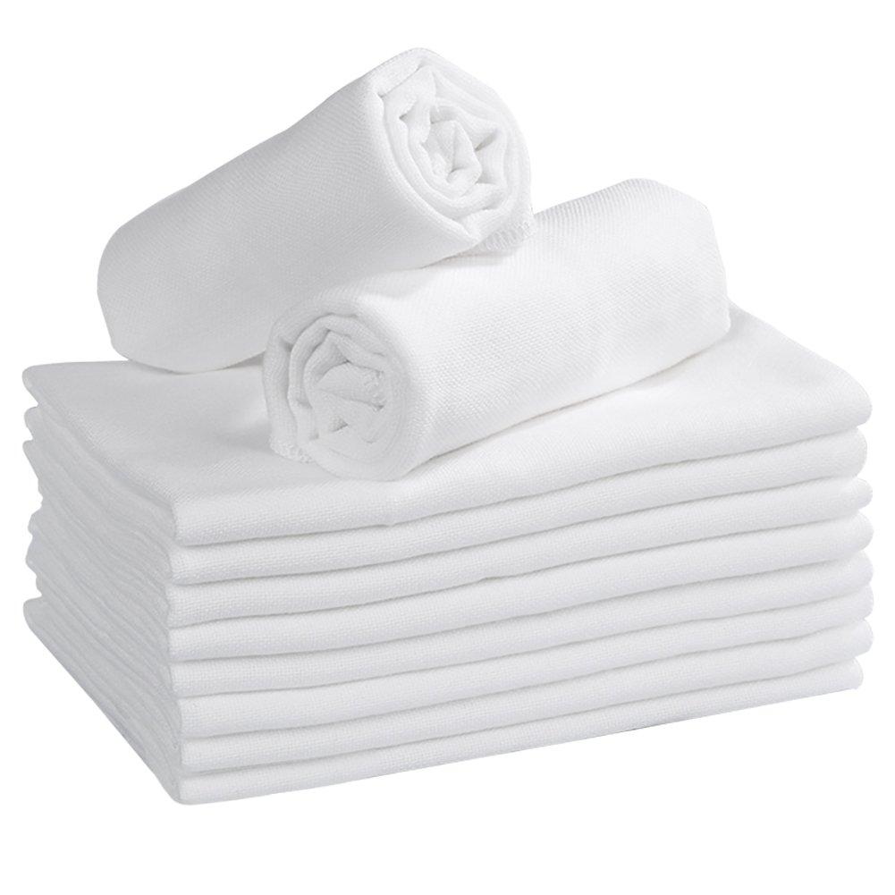 Mullwindeln Spucktücher 35 x 50 cm Baumwolle Moltontücher Baby Waschlappen Stoffwindeln 10er Set Weiß für Baby Mädchen Junge von YOOFOSS