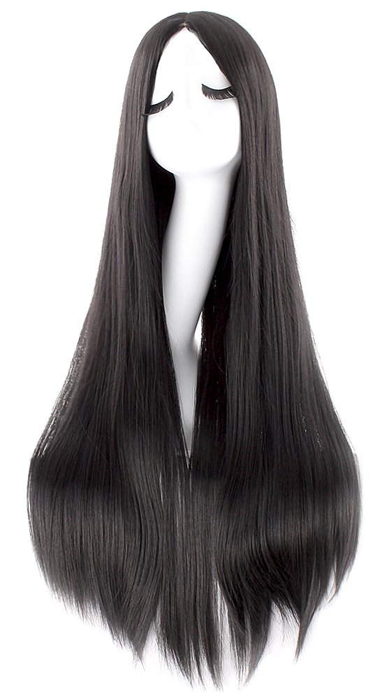 MapofBeauty 40 Inch/100cm Fashion Straight Long Costume Anime Wig (Black) by MapofBeauty
