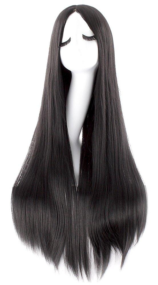 MapofBeauty Fashion Straight Long Costume Anime Wig (Black)
