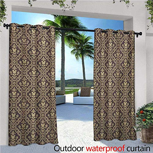 homehot Vintage Indoor/Outdoor Single Panel Print Window Curtain Medieval Victorian Rococo Baroque Style Damask Tulip Flowers Renaissance Art Silver Grommet Top Drape W96 x L108 Dark Taupe Beige
