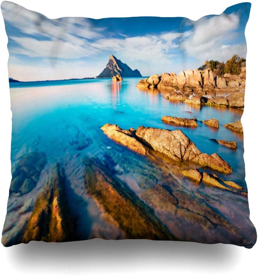 Ahawoso Throw Pillow Cover Pillowcase Square 20x20 Impressive Summer Wonderland Tavolara View Sardinia Island Italy Beach Bay Nature Parks On Outdoor Decorative Cushion Case Home Decor Pillowslip