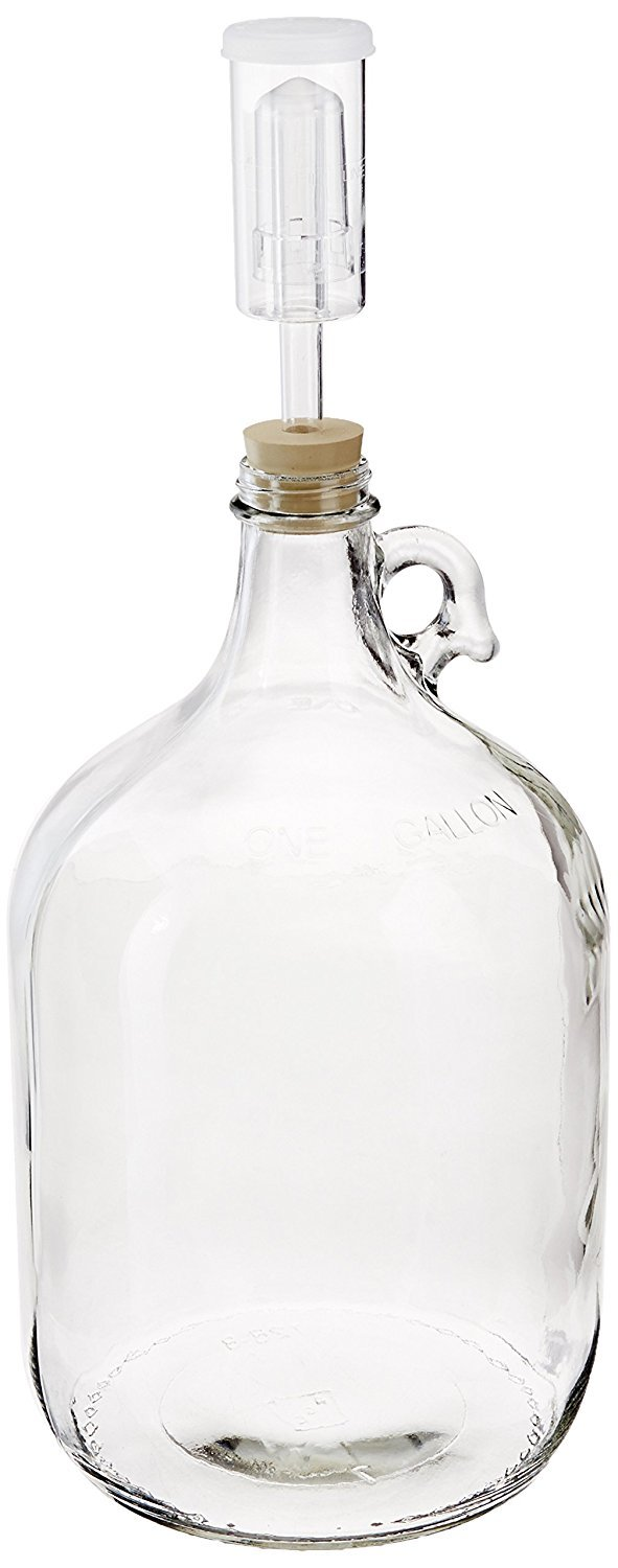 North Mountain Supply 1 Gallon Glass Jug With Handle, Rubber Stopper & 3-Piece Airlock