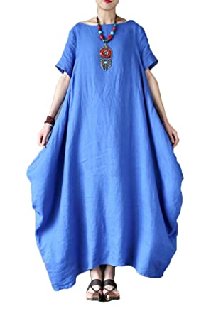 bdec72e18da2 FantasyLinen Women s Cotton Linen Maxi Short Sleeve Dresses (Medium