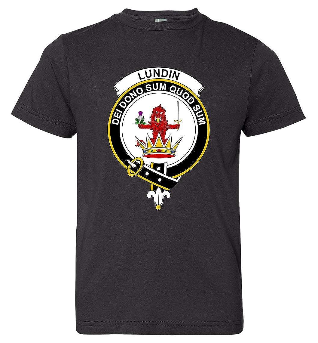 Tenacitee Boys Youth Scottish Clan Crest Badge Lundin T-Shirt