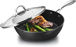COOKER KING 11 Inch Nonstick Deep Frying Pan PFOA/Toxin Free, Induction Skillet, Anti-Warp Base, Saute Pan With Stainless Steel Handle, Oven Safe, Dishwasher Safe, 11'', 5 QT, Black