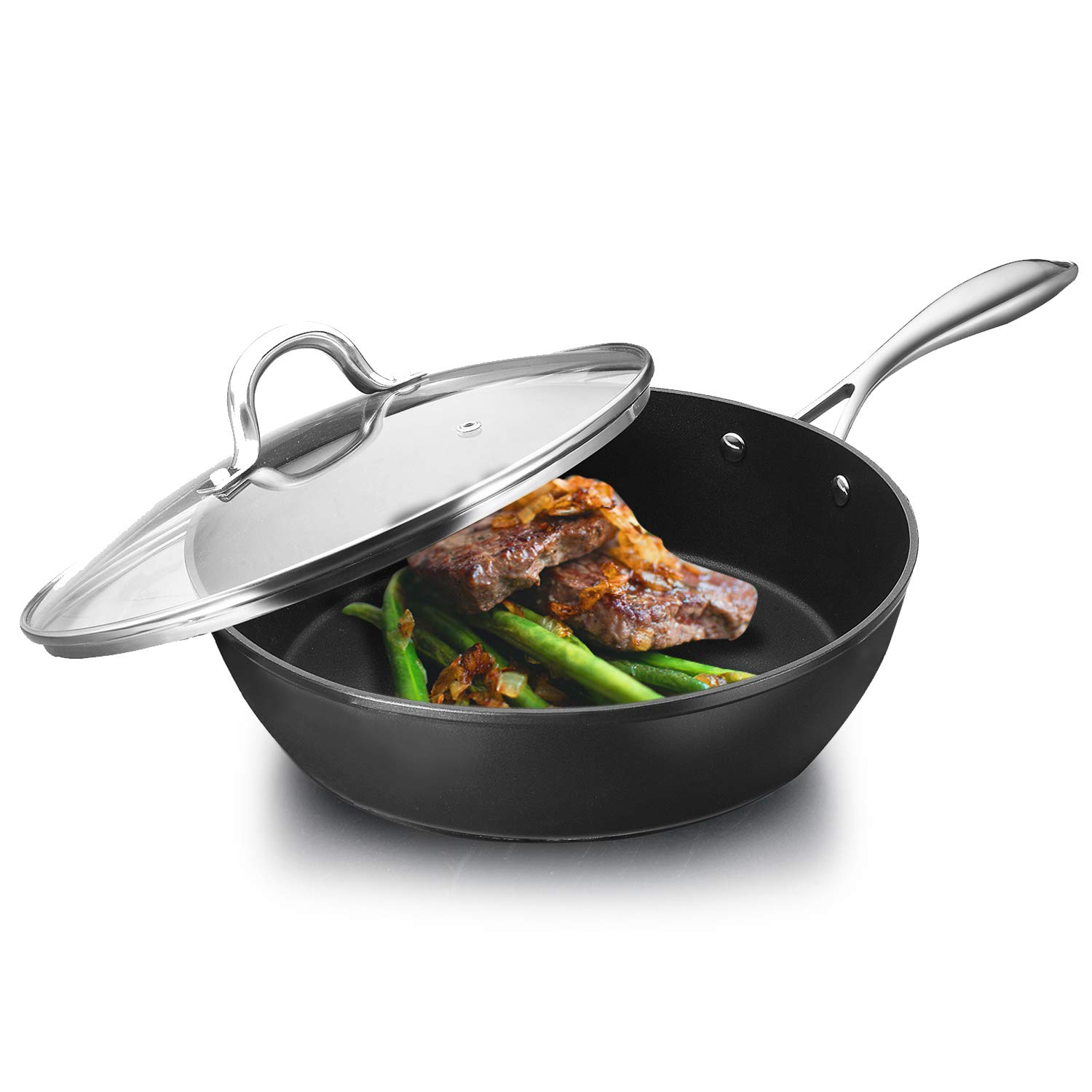 COOKER KING Nonstick Skillet with Lid, Induction Compatible, Dishwasher Safe, Oven Safe, Fast Heating, Anti-Warp Base, Stainless Steel Handle, 11-Inch Multi-Function Nonstick Frying Pan with Lid