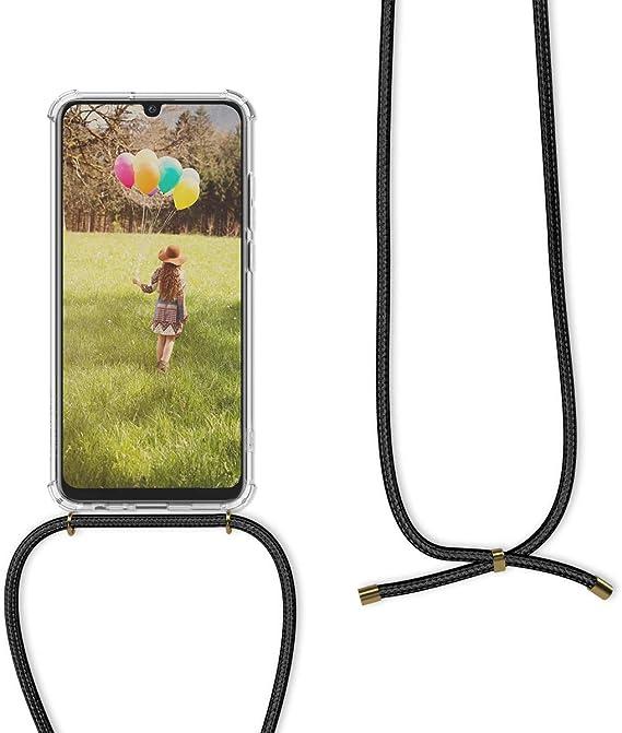 Anti-Choque Funda con Cuerda para Huawei P Smart 2019 // Honor 10 Lite, Moda y Practico Anti-rasgu/ños Oro Rosa Suave Silicona Transparente TPU Carcasa de movil con Colgante//Cadena