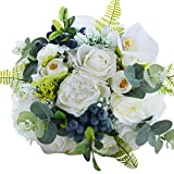 Zebratown 10'' Countryside Fruits Artificial Bridal Bouquet White Rose Artificial Bulk Wedding Bouquets for Bridesmaids Throw Wedding Flowers (White)