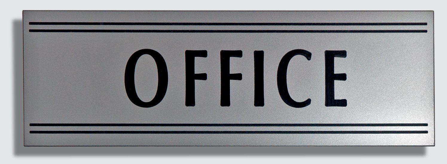JP Signs - Office Sign – 9 X 3 Inch (Silver / Black) Engraved Premium Design Office Signage Essentials – Communicates Professionalism – Ideal for Large or Small Offices – Not a Sticker – Engraved on Quality ABS Plastic Material – 20 Years Guar