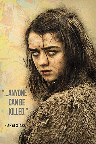 Arya Stark GOT Game of Thrones Quotes Anyone Can Be Killed Poster 20x30