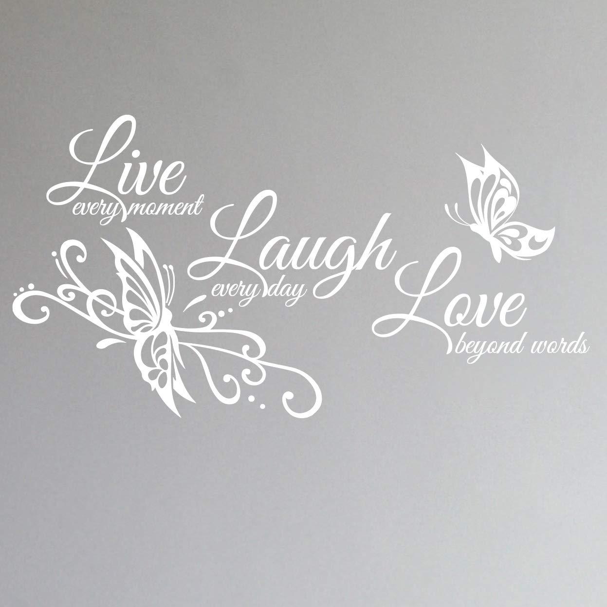 "Innovative Stencils Live Love Laugh Family Wall Decor Decal Art Sticker 24"" Wide x 12"" high #1468 (Matte White)"