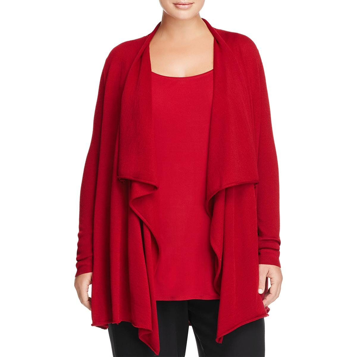 Eileen Fisher Womens Plus Draped Open Front Cardigan Top Red 3X