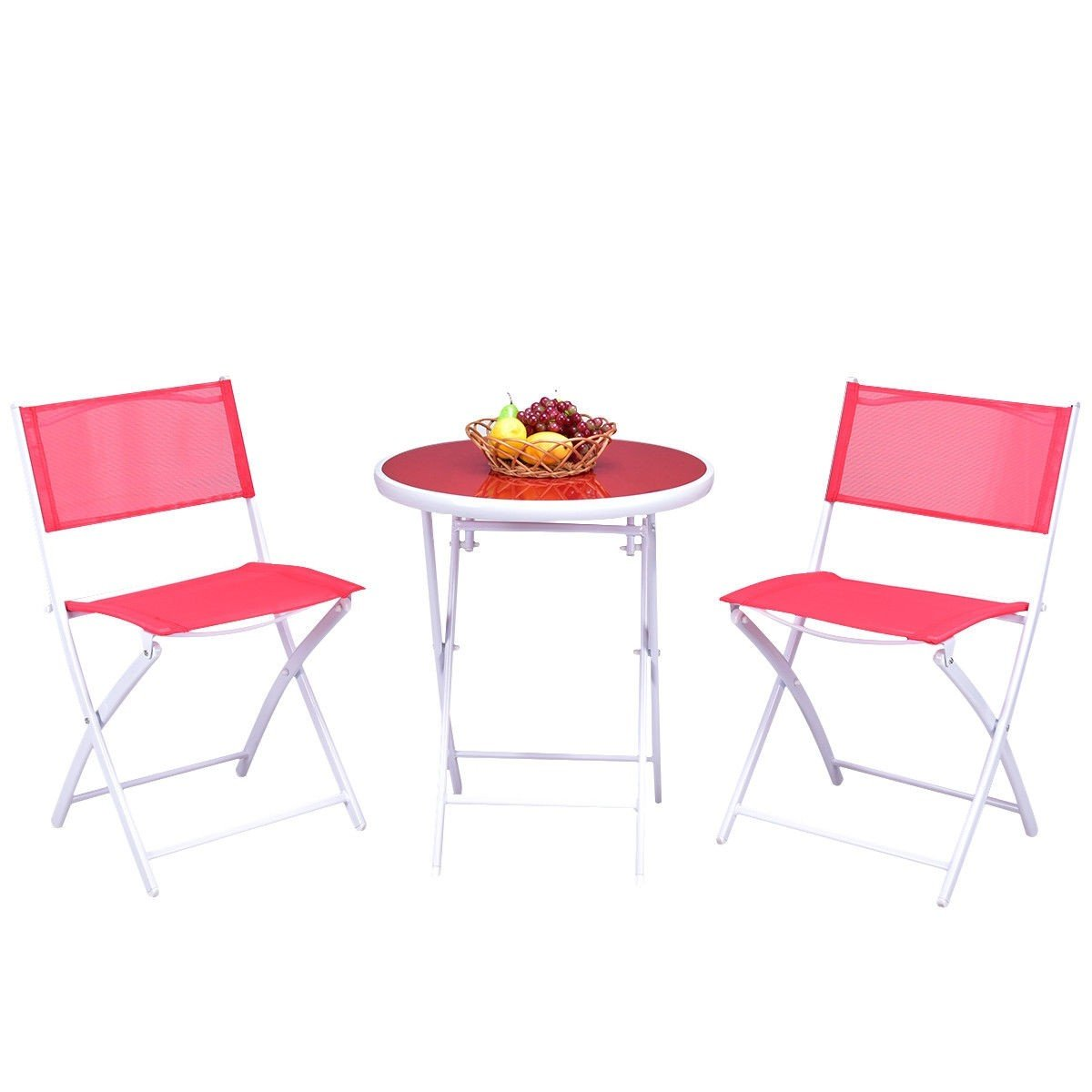 Custpromo 3 Pcs Bistro Set Folding Table and Chair Set Metal Frame Tempered Glass Top Garden Backyard Furniture (Red)