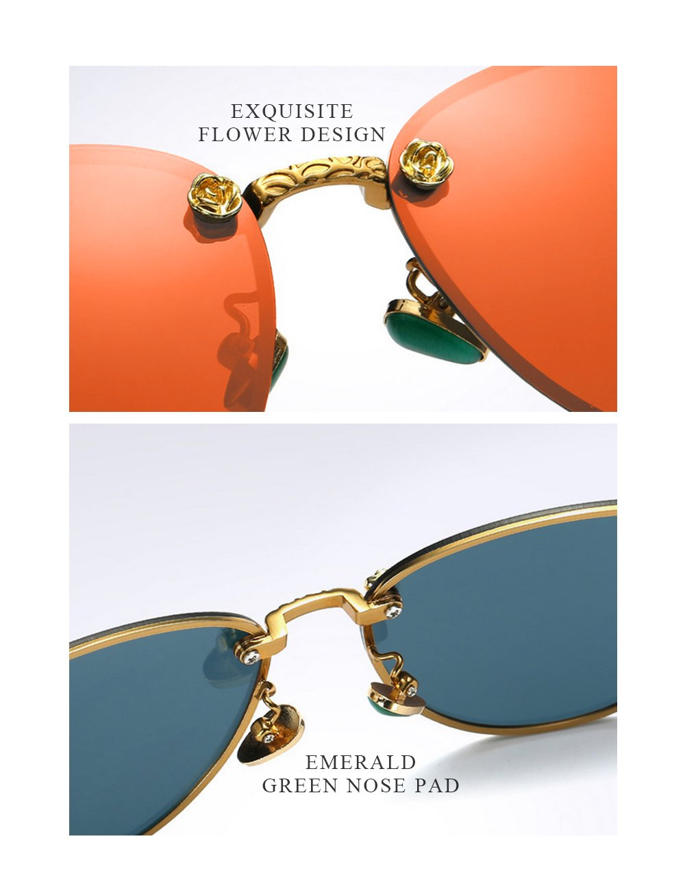 WELUK Fashion Polarized Rimless Cateye Sunglasses Oversized Color Tinted Orange