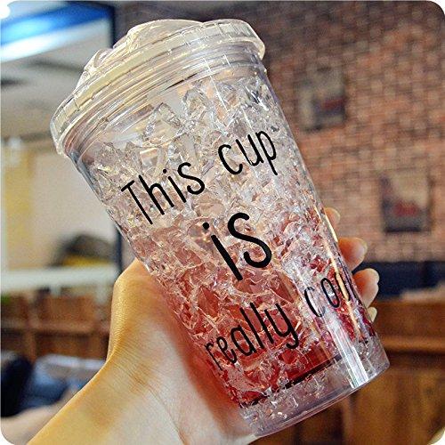 MIRUIKE Summer Ice Cup with Straws Gel Frosty Freezer Plastic Mug for Beer,juice,milkshakes and More Beverage
