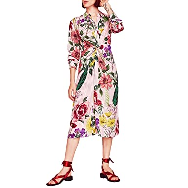 OHTOP Women Elegant Vintage Floral Printed Striped Long Sleeve Pleated Casual Dress (S)