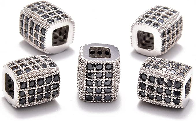 1pc 12x12x7mm Wholesale Round Bead with Micro Pave Rhinestones Silver and Blue Stripes Design Beads for Bracelet Necklace Anklet Making