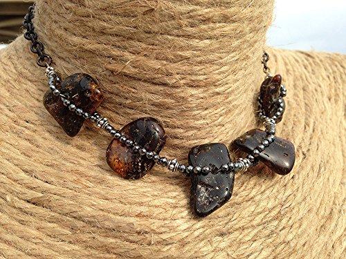 (Shipwrecked Amber Necklace. Raw, Rustic, Bohemian, Boho, Tribal, Primitive. Raw Baltic Amber, Bali Sterling Silver, Hematite, Brass)