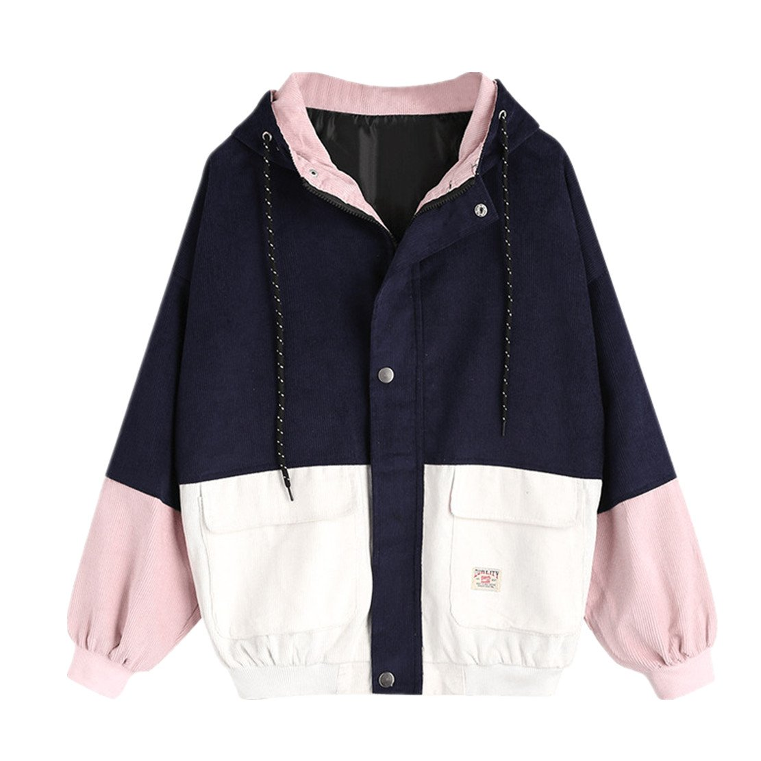 WEUIE Women Outwear Clearance Sale! Women Long Sleeve Corduroy Patchwork Oversize Jacket Windbreaker Coat Overcoat (S,Navy)