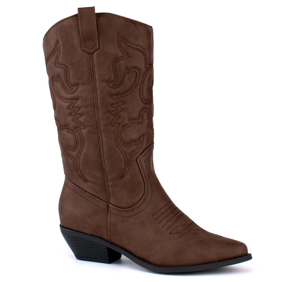 Premier Standard - Western Cowboy Pointed Toe Knee High Pull On Tabs Boots, TPS Boots-Oner Dk. Tan Size 7