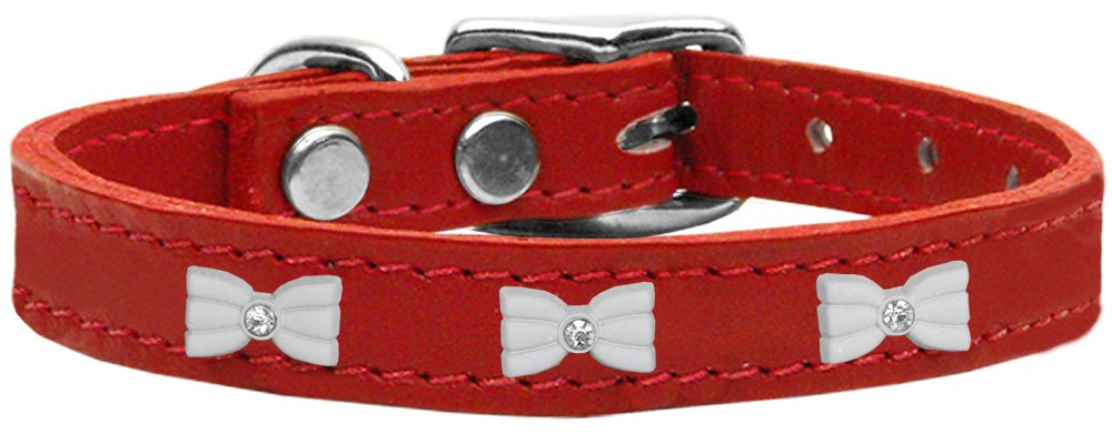 Mirage Pet Products 83-49 Rd26 White Bow Widget Genuine Leather Red Dog Collar by Mirage Pet Products