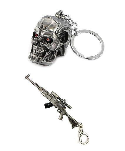 Llavero de Metal 3D con Calavera Terminator y Arma: Amazon ...