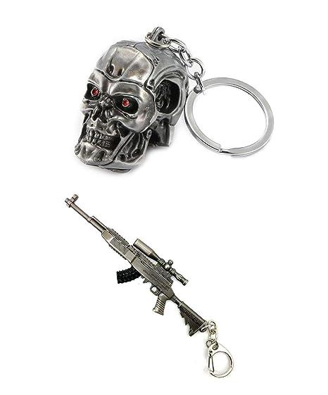 Llavero de Metal 3D con Calavera y Arma: Amazon.es: Equipaje