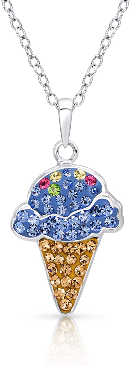 Never Rust 925 Sterling Silver Fine Jewelry For Women /& Girls with Breathtaking Gift Box for Special Moments BLING BIJOUX Jewelry Multi Color Crystal Enamel Ice Cream Cone Charm Silver Pendant