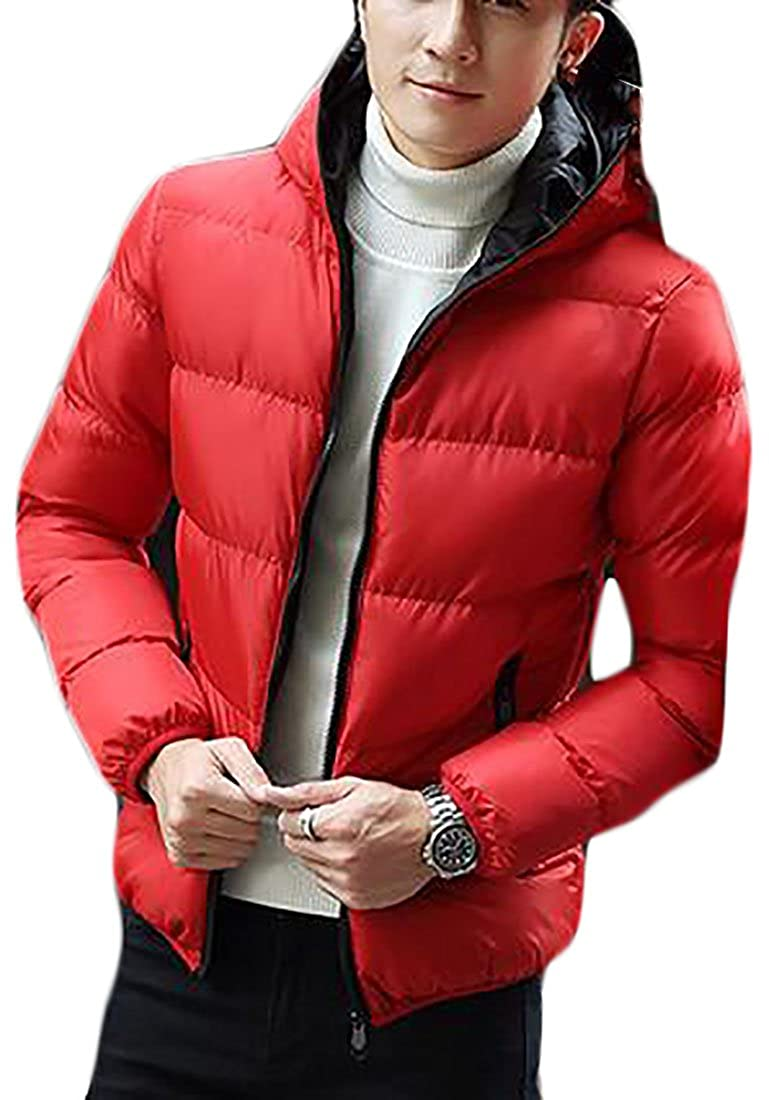 xtsrkbg Mens Winter Solid Lightweight Padded Down Hooded Puffer Coats