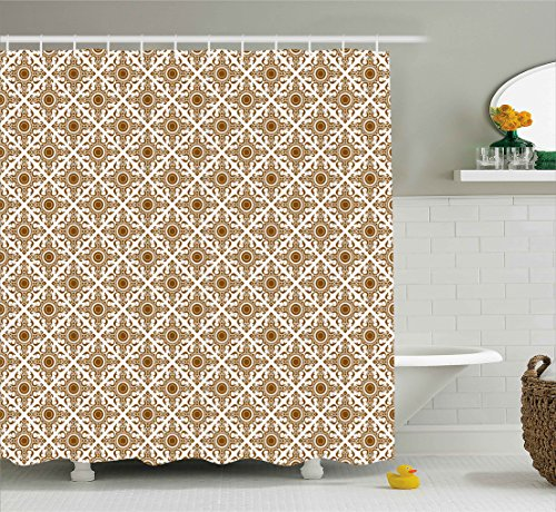 Ambesonne Ethnic Shower Curtain, Thai Mosaic Art Culture Stylized Abstract Lines Dots Pattern Folk Asian Design, Fabric Bathroom Decor Set with Hooks, 70 Inches, Redwood White by Ambesonne