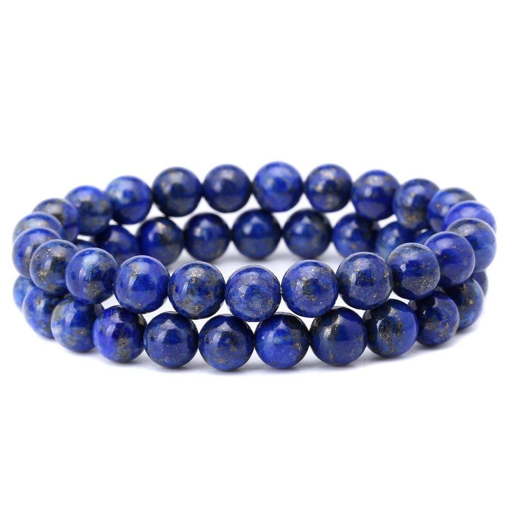 Qitian 8mm Afghanistan Lapis Lazuli Bracelet Blue Stone Beads Stretchy Strand Bracelets