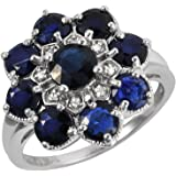 Ivy Gems Sterling Silver Midnight Sapphire and Diamond Cluster Ring